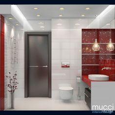 Ванна в красном цвете: интерьер, квартира, дом, санузел, ванная, туалет, современный, модернизм, 10 - 20 м2 #interiordesign #apartment #house #wc #bathroom #toilet #modern #10_20m2