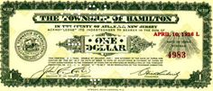 New Jersey (United States)  Hamilton Township 1 Dollar 10.4.1936 (SCRIP)