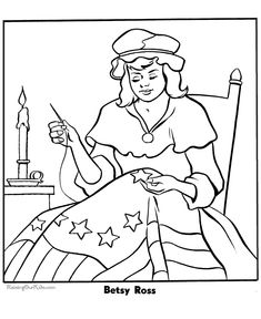 Betsy Ross first American flag - a coloring page