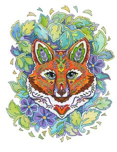 Foxes live and are loved the world over. Fanciful Foxes has 31 illustrations for you to color, with beautifully adorned foxes drawn as portraits and in themed settings. Fox families are surrounded by vines, flowers, and other wee animals. Enchanted Forest Book, Enchanted Forest Coloring Book, Fox Coloring Page, Coloring Book Pages, Creative Haven Coloring Books, Punch Needle Patterns, Fox Art, Cute Fox, Crochet Art