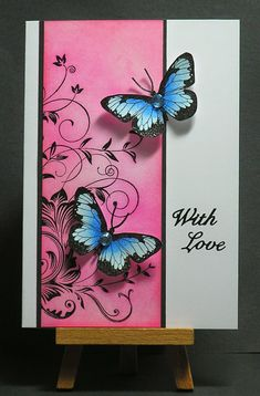 use butterfly stickers & stamp black onto col pr Cathys Card Spot . Homemade Wedding Cards, Homemade Cards, Homemade Greeting Cards, Hand Made Greeting Cards, Pinterest Cards, Hero Arts Cards, Butterfly Cards, Tampons, Handmade Birthday Cards