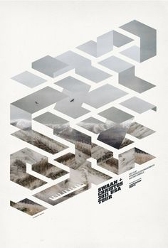 Isometric poster.  This gives me an idea for working with woodgrain...  The geometric contrasted with the biomorphic, very much like a window frame overlays landscape scenery, or how our ideals frame how we see the natural world!