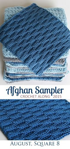 Wave Stitch, Square 8 of 10 for the Crochet Along Afghan Sampler on The Inspired Wren