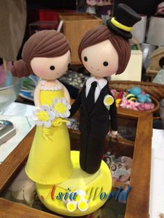 Yellow Vintage Wedding Cake topper Clay Couple in by AsiaWorld, $57.50