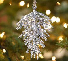 Silver Sequin Pinecone Ornament #potterybarn