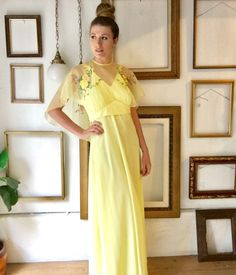 vintage yellow dress with embroidered etachable capelet