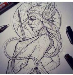 Ideas Tattoo Traditional Woman Tatoo For 2019 Hai Tattoos, Neue Tattoos, Body Art Tattoos, Tattoo Sketches, Tattoo Drawings, Drawing Sketches, Art Drawings, Norse Tattoo, Viking Tattoos