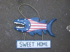 """Sweet Home"" Shark Attack Wood Sign 15"" - Americana Decor"