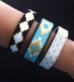 Decorative Elastic Band for Fitbit Flex, Fitbit Charge and ChargeHR, Set/3: Black Moroccan (MO06), Aqua Aztec(AZ09), White w/Gold Dots(PD08) by BananaWindDesign on Etsy