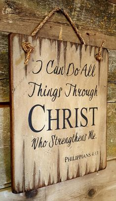 I Can Do All Things Through Christ Who Strengthens Me, Philippians 4:13, Western, Antiqued, Religiou Wood Pallet Signs, Rustic Wood Signs, Wooden Signs, Arte Pallet, Prayer Signs, Christian Signs, Wood Burning Crafts, Porch Signs, Sign Quotes