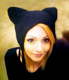 Black Cat Costume Hat, hand felted Kat Von D hat Halloween cosplay fancy dress witches cat hat