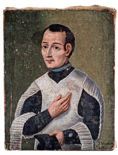 J. Vicente. M. (?), Retrato de sacerdote no identificado, óleo sobre tela, 23 x 18 cm., 1849, colección particular, fotografía propiedad de Galerías Louis C. Morton, catalogación: Juan Carlos Cancino.
