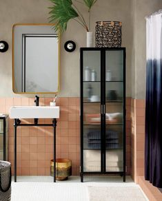 Glass And Pipe Made Bathroom Storing Cabinets #bathroomideas #bathrooms #bathroomgoals #bathroomstorage #bathroomstorgeideas #bathroomdecor #homedecorideas