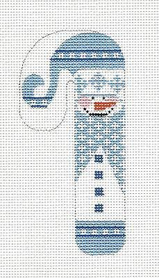 SM. Candy Cane Snowman in Blue handpainted Needlepoint Canvas FA-07 by Danji