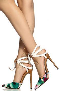 2eb7cf31bfa6 Watercolor Floral Print Faux Leather Cut Out Stiletto Heels   Cicihot Heel  Shoes online store sales Stiletto Heel Shoes
