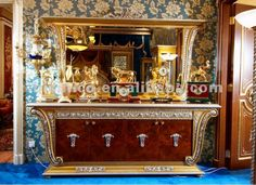 Luxury home sideboard,classical side cabinet with mirror,wooden hand carved with brass/bronze (B50865), View side cabinet, BISINI Product De...