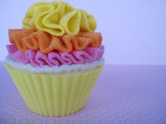 felt cupcake with citrus butter cream frosting