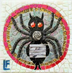 #GermanySignsProject  Lynn Bevino Felts - Spider Gorget Mosaic Projects, Art Projects, Jung In, Mosaic Animals, Special People, Letters And Numbers, Mosaic Art, Spider, Germany