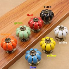 $9.50 (Buy here: https://alitems.com/g/1e8d114494ebda23ff8b16525dc3e8/?i=5&ulp=https%3A%2F%2Fwww.aliexpress.com%2Fitem%2FSeven-color-pumpkin-ceramic-dresser-pulls-drawer-knobs-antique-brass-kitchen-cabinet-handles-Rustico-retro-rural%2F32605981815.html ) Seven color pumpkin ceramic dresser pulls drawer knobs antique brass kitchen cabinet handles Rustico retro rural porcelain knobs for just $9.50