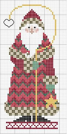 Free cross stitch pattern: country Santa holding staff in hand. I think I'd put a bell on the end of the crook, instead of a heart. would add a bit of interest. Santa Cross Stitch, Beaded Cross Stitch, Counted Cross Stitch Patterns, Cross Stitch Charts, Cross Stitch Designs, Cross Stitch Embroidery, Cross Stitch Christmas Ornaments, Christmas Embroidery, Christmas Cross