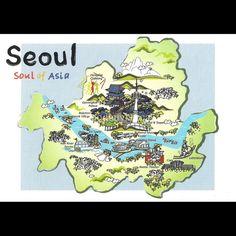 Korea Seoul City Tourist Attractions Map Postcard