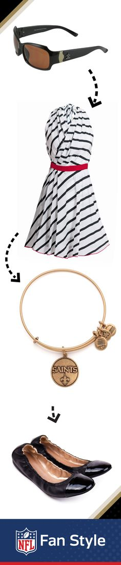 A first date is all about the first impression. Want to subtly rock your team spirit? Accessorize your striped dress with flats and an Alex & Ani gold New Orleans Saints charm bangle for a look he won't forget.