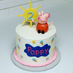 Happy 2nd birthday to Poppy from a sweet little pig named Peppa! #cake #cakes #cakesforkids #peppapig #peppapigcake #birthday #birthdays #birthdaycake #birthdaycakes #peppapigparty #buttercreamcake #kidcakes #peppa