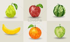 Low polygon fruit banana,crystal-fruit,geometric-fruit,greenapple,36194,lowpolygonstyle,orange,pear,redapple,vector-fruit,watermelon, Image File Formats, Fruits Images, Kids Cuts, Arts And Crafts, Paper Crafts, Fruit Art, Red Apple, Low Poly, Writing Inspiration
