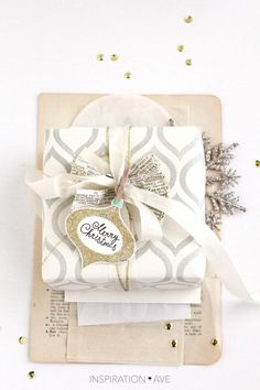 Christmas gift wrap idea with Stamp set from Inspirationave.com