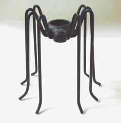 "Large Heavy Black Cast Iron Metal Spider Halloween Figure Candle Holder 9"" Tall $24.95"