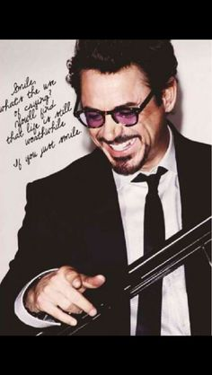 """The words of Charlie Chaplin's """"Smile"""" have meant a lot to Robert Downey Jr. over the years. (And if you haven't heard RDJ sing it, get his CD right now!)"""