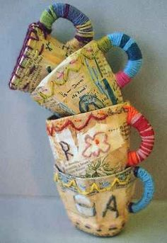 papier mache cups with stitching  Julie Arkell
