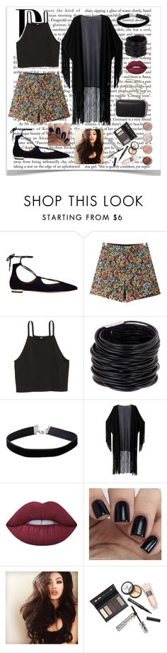 """Floral Shorts"" by alison2000 ❤ liked on Polyvore featuring Aquazzura, Chicnova Fashion, Clare V., Saachi, Miss Selfridge, WithChic, Lime Crime, Terre Mère and Borghese"