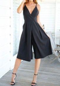 Black Backless Condole Belt Five's Length Jumpsuit