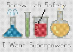 Lab Safety Cross Stitch Pattern #science #crossstitch #sciencefiction #scifi #comicbooks #comics #comicbook