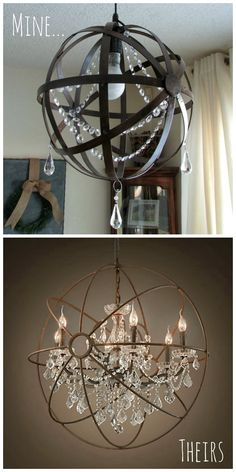 Diy home decor restoration hardware knock off orb chandelier made glamorous affordable life diy crystal iron orb chandelier we need to do this with the hanging ikea lights and the metal orbs i bought at home goods aloadofball Image collections
