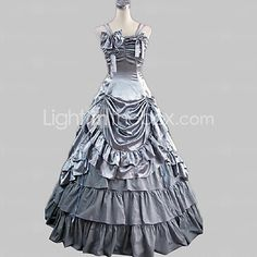 One-Piece/Dress Gothic Lolita Princess Cosplay Lolita Dress Silver Solid Sleeveless Floor-length Dress For Women Satin - USD $85.99 ! HOT Product! A hot product at an incredible low price is now on sale! Come check it out along with other items like this. Get great discounts, earn Rewards and much more each time you shop with us!