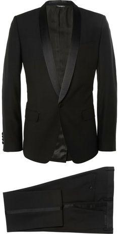 Dolce & Gabbana Martini Three Piece Wool-Blend Tuxedo Expensive Suits, Tuxedo Jacket, Patent Shoes, Tuxedos, Italian Style, Black Wool, Pocket Square, Martini, Wool Blend