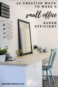 Small Office Design Ideas – 10 Ways to Make an Office Efficient – Joyful Derivatives – Home office design layout Small Office Design, Small Space Office, Home Office Space, Home Office Design, Office Designs, Small Spaces, Small Office Decor, Workplace Design, Small Small