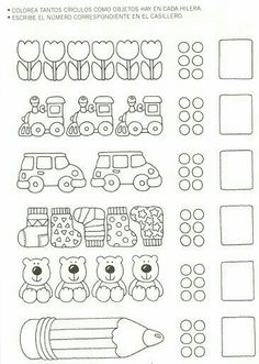 123 Manía: actividades de matemática para imprimir, resolver y colorear - Betiana 1 - Álbuns da web do Picasa Kindergarten Math Worksheets, Worksheets For Kids, Preschool Activities, Math Games, Learning Activities, Kids Learning, Math For Kids, Fun Math, Numicon