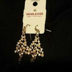 Earrings gold w rhinestones  tree shape Tree shaped earrings. Gold w rhinestones and dark gem at bottom noblesse   Jewelry Earrings
