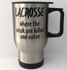 """Lacrosse Travel Mug, stainless steel travel mug for LAX lacrosse player or coach, 14 ounce capacity, double-walled, no-spill pop top. Great travel mug for a lacrosse player, parent or coach - The mug is double-walled stainless steel and has a no-spill pop top with a rubber gasket. The top spins from """"open"""" to """"closed"""" and can be seen in photos. The travel mug has a capacity of approximately 14 ounces and fits most vehicle cup holders. The wording is printed on both sides of the mug, so it…"""