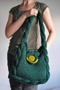 Items similar to Cable hand knit shoulder bag designer tote hobo crossbody messenger school bag Soul of a Vagabond with contrasting button CHOOSE YOUR COLOR on Etsy - Bags Knitted Bags, Crochet Bags, Knit Bag, Designer Totes, School Bags, School Ideas, Hand Knitting, Bucket Bag, Straw Bag