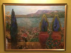 This painting represents depth. Interposition; the potted plants are in front of the lake. Size; the orange blossom plants are bigger than plants in the background. Elevation; mountains are higher in the painting, inferring higher in elevation. Linear Perspective; the mountains extend past the edge of the painting. Texture Gradient; the plants in the front are more detailed. Shading; shading on the house rooftops. Atmospheric Perspective; the sky's lighter than the details up front.