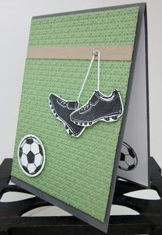 Hello there,   I made a couple of Football (soccer) cards today to share with you, I always need boy cards and most boys love to kick a bal...