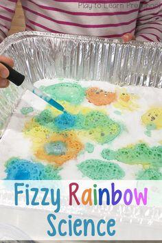 Fizzy Rainbow Science Activity for Preschoolers