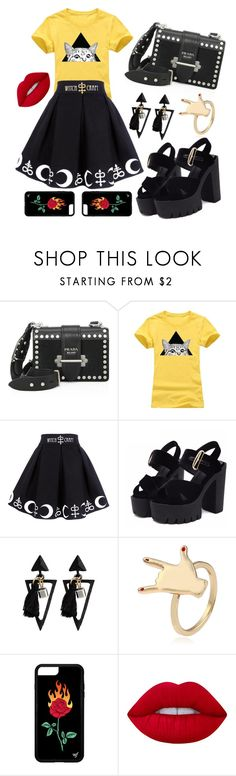 """""""witch"""" by linates ❤ liked on Polyvore featuring Prada and Lime Crime"""