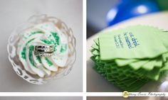 Real Indianapolis wedding at Ricks Cafe Boatyard | Detail photo of wedding rings in cupcake and personalized napkins with brides' names | (c) Brittany Erwin Photography