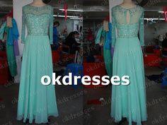 Long Sleeves Prom Dress Mint Chiffon Evening Prom by Okdresses