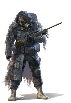 Urban sniper with gas mask in the Great Insurgency Character Concept, Character Art, Character Design, Post Apocalypse, Cyberpunk, Ronin Samurai, Art Du Monde, Future Soldier, Sci Fi Characters